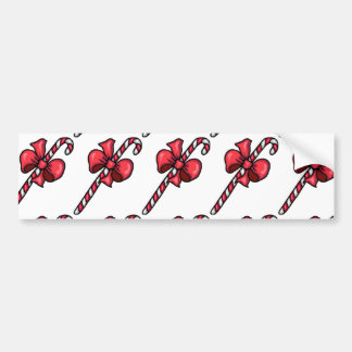 SUPER YUMMY BOW CANDYCANE RED WHITE STRIPES CANDY BUMPER STICKERS