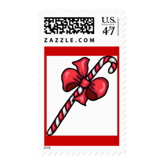 SUPER YUMMY BOW CANDYCANE RED WHITE STRIPES CANDY STAMP