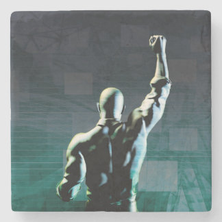Superar obstáculos con el hombre que alcanza éxito posavasos de piedra