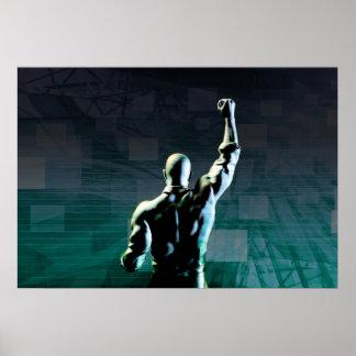 Superar obstáculos con el hombre que alcanza éxito póster