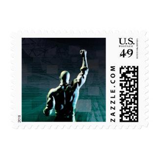 Superar obstáculos con el hombre que alcanza éxito sello postal
