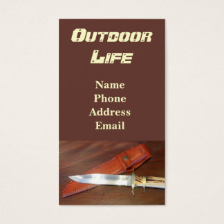 Superb Hunting Knife with Leather Case Business Card