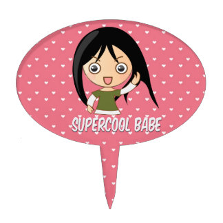 Supercool babe chick girly pink hearts pattern cake toppers