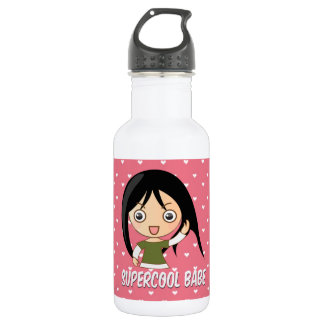 Supercool babe chick girly pink hearts pattern water bottle