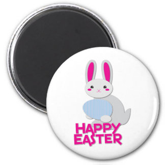 supercute bunny easter with words 2 inch round magnet