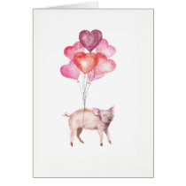 Supercute watercolor pig with heart balloons card