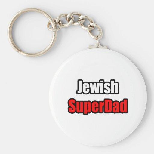 SuperDad judío Llavero Redondo Tipo Pin