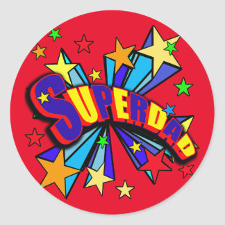 Superdad with Comic Book Style Round Sticker