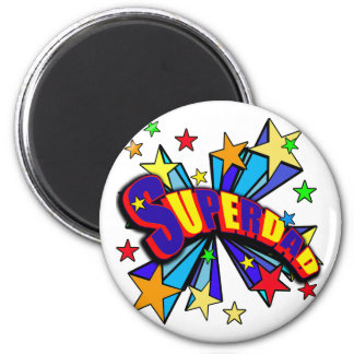 SuperDad! with Stars and Cartoon Design 2 Inch Round Magnet