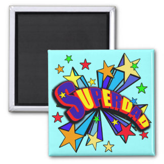SuperDad! with Stars and Cartoon Design 2 Inch Square Magnet