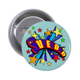 SuperDad! with Stars and Cartoon Design Pins