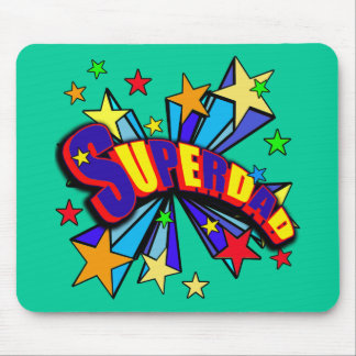 SuperDad! with Stars and Cartoon Design Mouse Pad