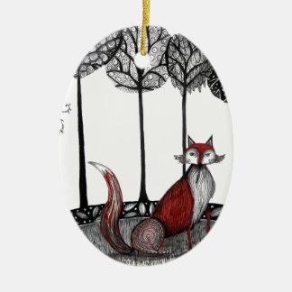 Supere en el engan@o el zorro adorno navideño ovalado de cerámica