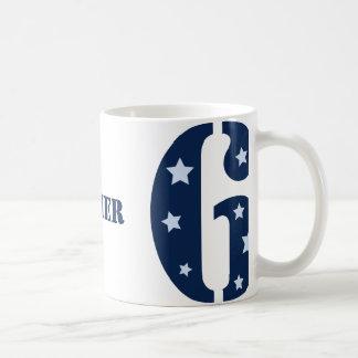 Superestrella azul taza de 6 cumpleaños