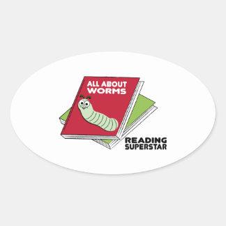 Superestrella de la lectura pegatina ovaladas personalizadas
