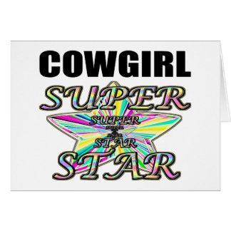 Superestrella de la vaquera tarjeta