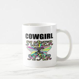 Superestrella de la vaquera taza de café