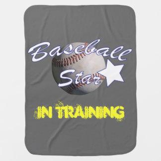Superestrella del béisbol en el entrenamiento manta de bebé