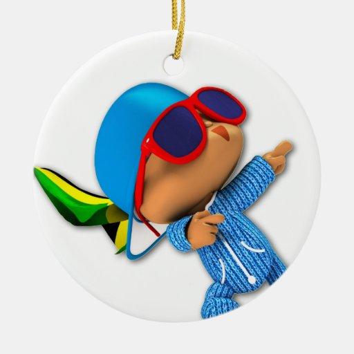 superestrella del número 1 del peekaboo adorno navideño redondo de cerámica
