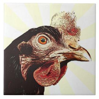 Superestrella gruñona enrrollada del pollo azulejo cuadrado grande