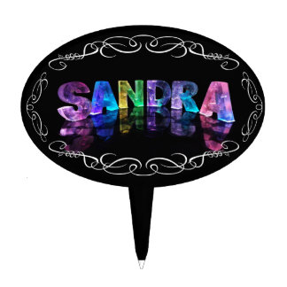 Superestrella Sandra - nombre en las luces (fotogr Decoración Para Tarta