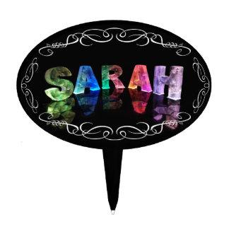 Superestrella Sarah - nombre en las luces (fotogra Figura Para Tarta