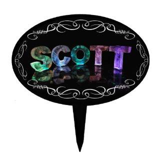 Superestrella Scott - nombre en las luces (fotogra Figura Para Tarta