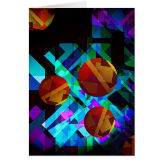 Superficial Red Bright Geometric Abstract Card