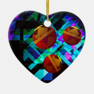Superficial Red Bright Geometric Abstract Ceramic Ornament