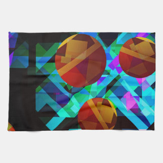 Superficial Red Bright Geometric Abstract Hand Towel