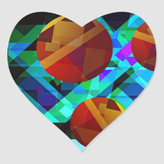 Superficial Red Bright Geometric Abstract Heart Sticker