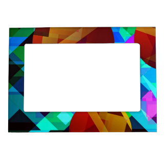 Superficial Red Bright Geometric Abstract Magnetic Photo Frame