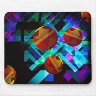 Superficial Red Bright Geometric Abstract Mouse Pad