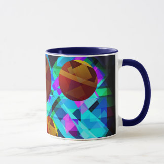 Superficial Red Bright Geometric Abstract Mug
