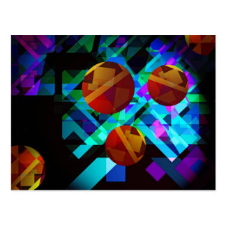 Superficial Red Bright Geometric Abstract Postcard