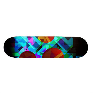Superficial Red Bright Geometric Abstract Skateboards