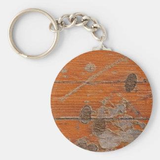Superficie áspera de madera llavero redondo tipo pin