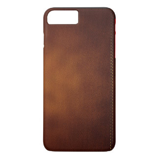 Superficie de cuero de Brown con la etiqueta roja Funda iPhone 7 Plus