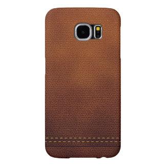 Superficie de cuero de Brown con la etiqueta roja Funda Samsung Galaxy S6