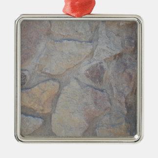 Superficie de la roca adorno navideño cuadrado de metal