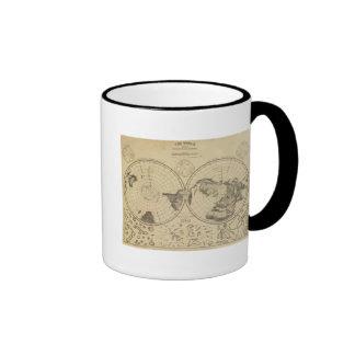 Superficie de la tierra del mundo tazas de café