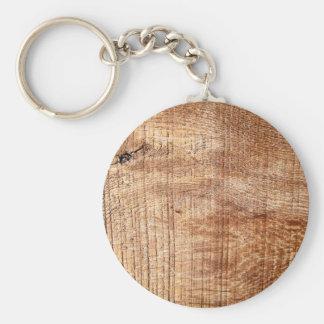 Superficie de madera de pino llavero redondo tipo pin