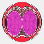 Superfly diseño rosado pegatina redonda