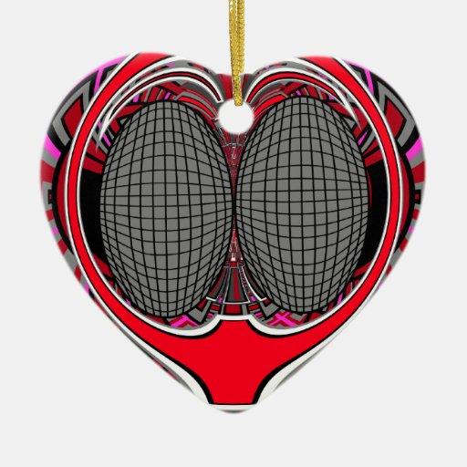 Superfly en rojo oscuro y rosado adorno navideño de cerámica en forma de corazón