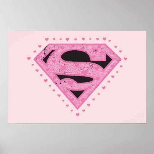 Supergirl apenó negro y rosa del logotipo posters