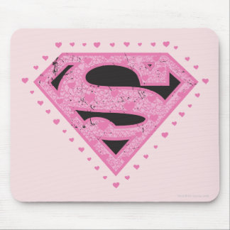 Supergirl apenó negro y rosa del logotipo tapete de raton