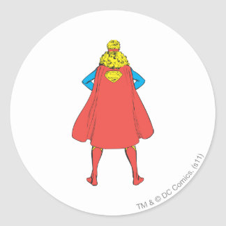 Supergirl Back View Classic Round Sticker