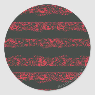 Supergirl Black and Red Line Pattern Classic Round Sticker