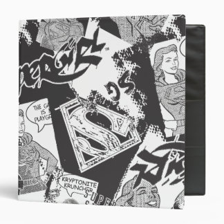 Supergirl Black and White Collage 3 Ring Binder