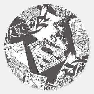 Supergirl Black and White Collage Classic Round Sticker